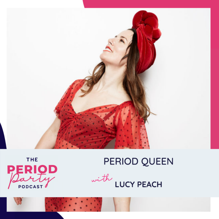 Pictured here is podcast guest Lucy Peach who joins us on the Period Party Podcast to talk about how understanding the phases of your cycle can improve your life, why ovulation should be the star of the cycle and why Lucy uses music and theatre to spread period positivity.