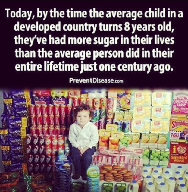 Today, by the time the average child in a developed country turns 8 years old, they've had more sugar in their lives than the average person did in their entire lifetime just one century agao.